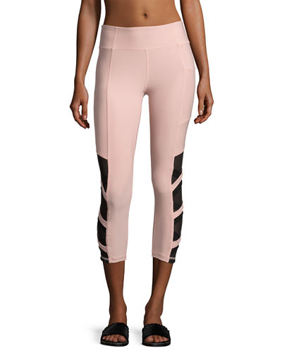Power Mesh Strap Capri Leggings