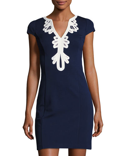 Cap-Sleeve Sheath Dress with Embroidered Neckline