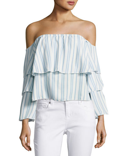 Striped Three Tier Ruffled Off the Shoulder Top