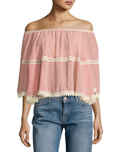 Lace-Inset Off-the-Shoulder Printed Blouse