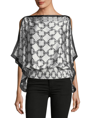 Satin Printed Cascade Blouse