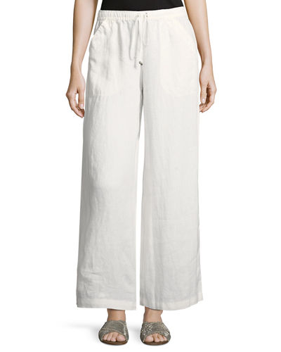 Drawstring-Waist Cropped Linen Pants