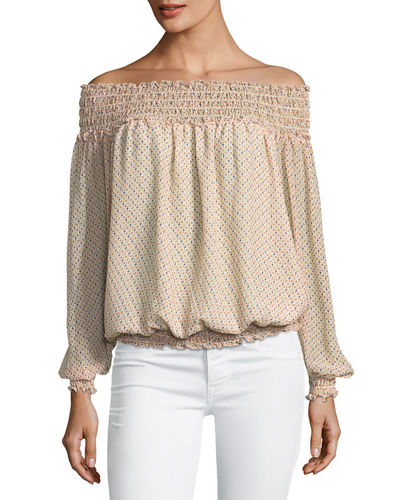 Smocked-Trim Off-the-Shoulder Blouse
