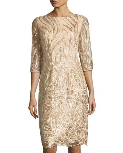 3/4-Sleeve Embroidered Sequined Dress
