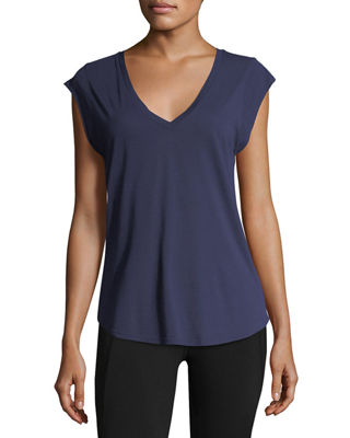 LA MADE Elie V-Neck Jersey Tee, Blue/Black
