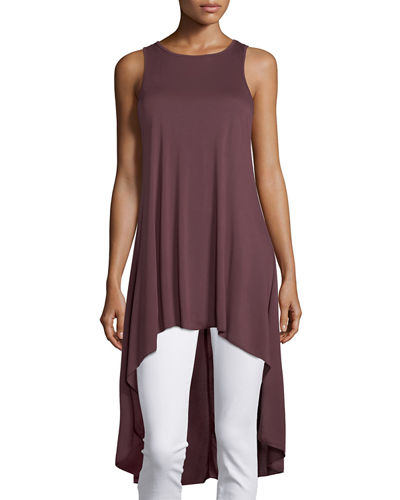 Sleeveless Jewel-Neck High-Low Tunic