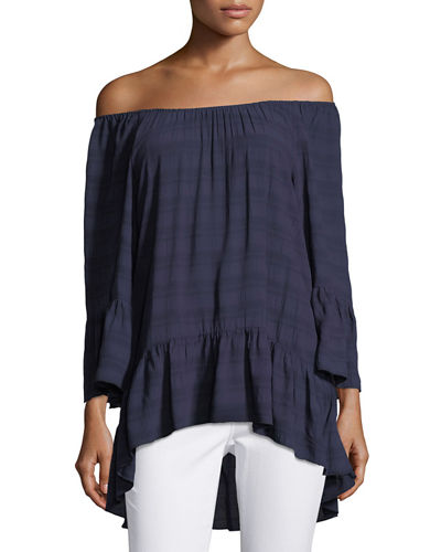 3/4-Sleeve Off-the-Shoulder Peasant Top