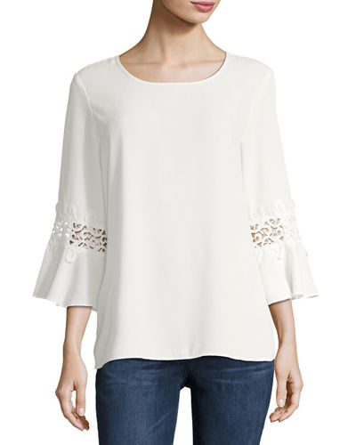 3/4 Sleeve Jewel Neck Blouse