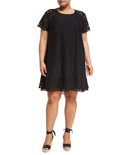 Jewel Neck Cap Sleeve Lace A Line Dress Plus Size