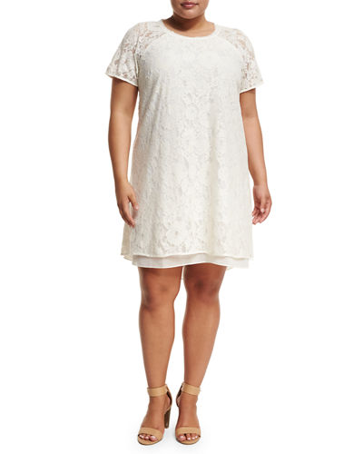 Jewel-Neck Cap-Sleeve Lace A-Line Dress, Plus Size