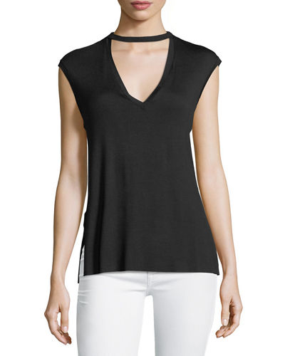 V Neck Back Cutout Jersey Top