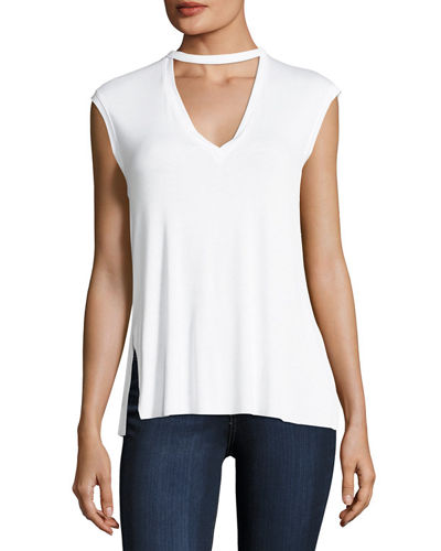 V-Neck Back-Cutout Jersey Top