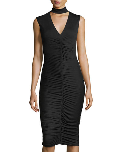 Ruched Jersey Sleeveless Dress