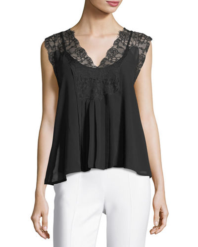 Lace-Trim Sleeveless Top