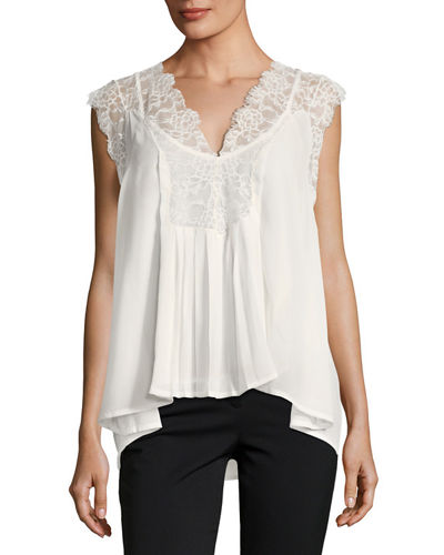 Lace Trim Sleeveless Top