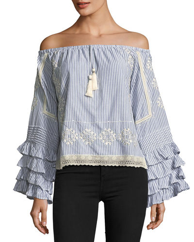Off-the-Shoulder Ruffle-Sleeve Top