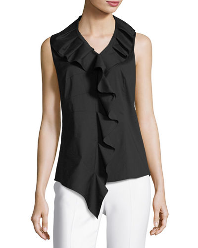 Aliza Ruffled Stretch-Poplin Blouse
