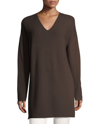 High-Slit V-Neck Tunic