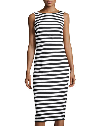 Marina Striped Sheath Midi Dress