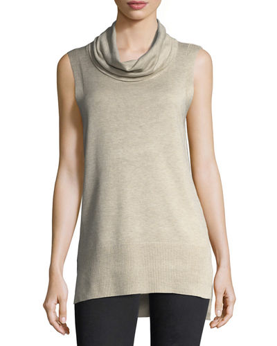 Cowl-Neck Ribbed Tunic