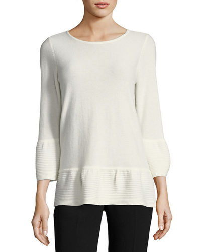 Cashmere Ribbed-Bell Sweater