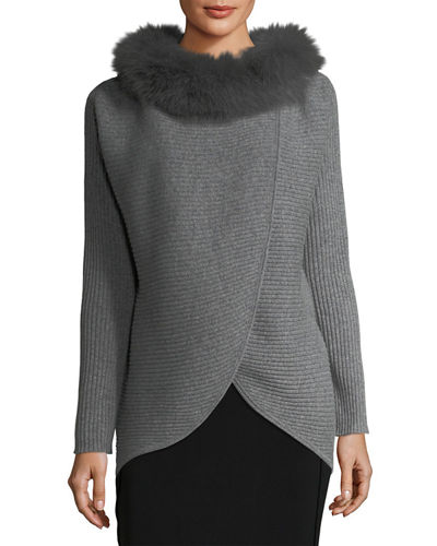 Cashmere Fur-Trim Wrap Tunic