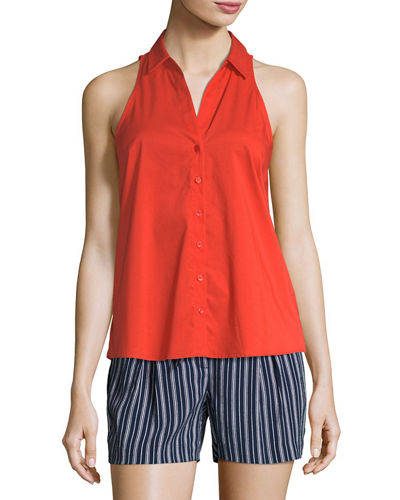 Sleeveless Button-Front Poplin Top