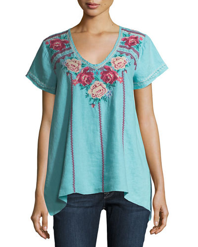 Helena Embroidered Linen Drape Top