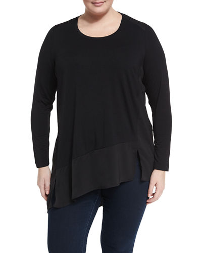 Asymmetric Hem Long Sleeve Top Plus Size