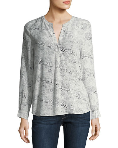 Peterson Dot-Print Silk Blouse