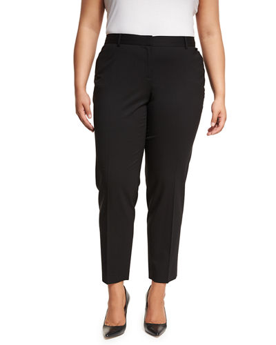 Downtown Straight-Leg Wool Pants, Plus Size