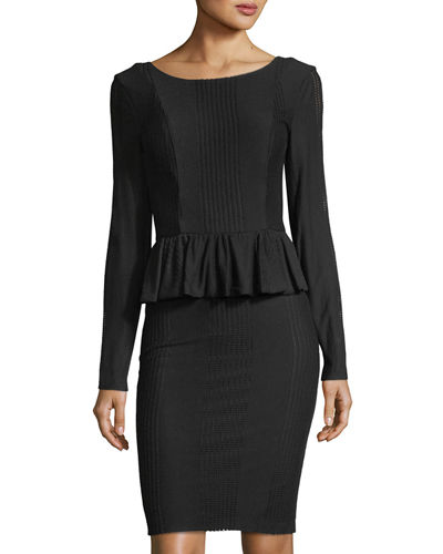 Florence Long-Sleeve Peplum Dress