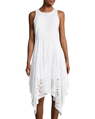 Handkerchief-Hem Sleeveless Lace Dress