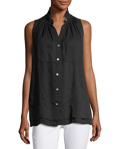 Ruffled Collar Button Front Blouse