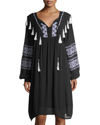 Split-Neck Embroidered Long-Sleeve Dress
