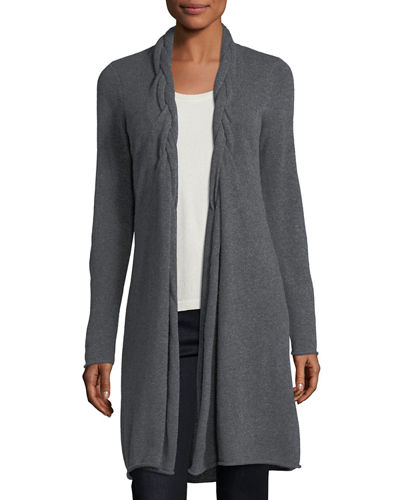 Cashmere Braided-Collar Cardigan