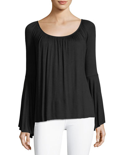 Bell Sleeve Boat Neck Relaxed Top