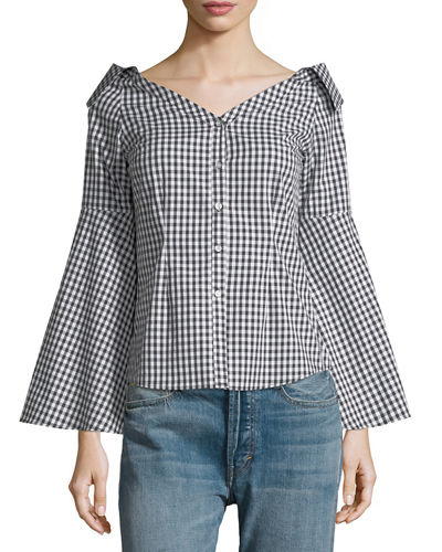 Collared Off-the-Shoulder Blouse