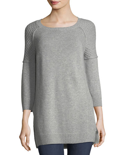 Cashmere Boat-Neck Knit Tunic Sweater