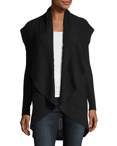 Cashmere Ribbed Cocoon Cardigan Sweater