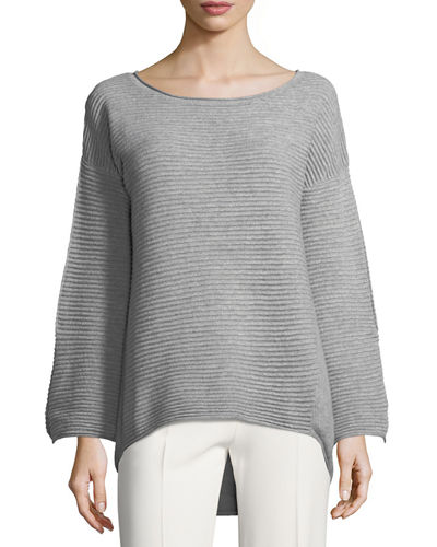 Cashmere Round-Neck Bell-Sleeve Pullover Sweater