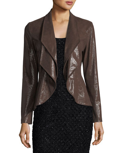 Faux Suede Open Front Jacket