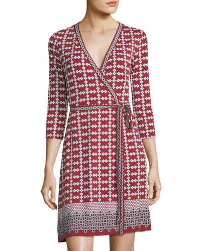 Geometric-Print Jersey Wrap Dress, Oxblood/Beige