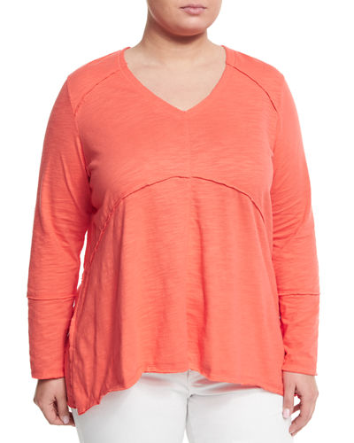 Tambourine V Neck Relaxed Tee Plus Size