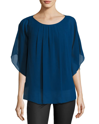 Batwing Pleated Georgette Top