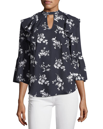Floral-Print Ruffle Keyhole Blouse, Navy
