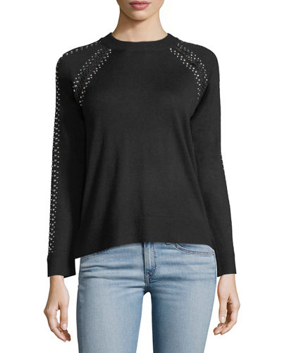 Lattice Studded Long-Sleeve Sweater