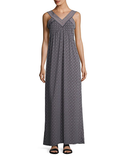 V-Neck Printed Jersey Maxi Dress