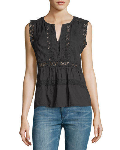 Sleeveless Lace Pintuck Cotton Voile Top