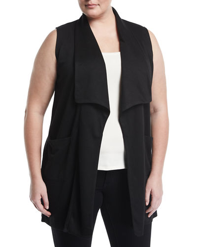 Double Knit Open Front Jersey Vest Plus Size